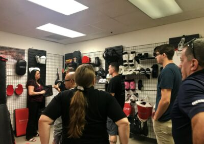 School owners checking out Macho Martial Arts gear